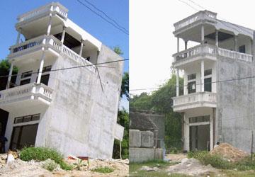 Nhà bị lún nghiêng do nhà bên cạnh xây mới không thực hiện chống văng nhà tại Quận Tây Hồ - Hà Nội